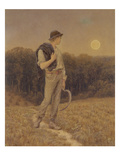 The Harvest Moon, 'Globed in Mellow Splendour', 1879 (W/C and Gouache on Paper) (See also 283763) Giclee Print by Helen Allingham