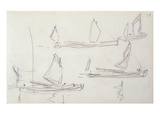 Study for London Series, Boats on the Thames (Pencil on Paper) Giclee Print by Claude Monet