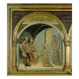 Detail Showing St. Ludovico before Pope Boniface Viii from the Predella of St. Ludovico Giclee Print by Simone Martini