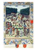 Louis Malet (1441-1516) Seigneur De Graville, Hunting Wild Boar, from the 'Terrier De Marcoussis' Reproduction procédé giclée par  French