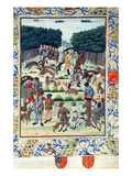 Louis Malet (1441-1516) Seigneur De Graville, Hunting Wild Boar, from the 'Terrier De Marcoussis' Giclee Print by  French