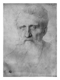 Head of a Man with Long Beard, 1898 (Silverpoint on White Cardboard) Giclee Print by Alphonse Legros
