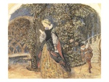 Lady in Mediaeval Dress, C.1859 (W/C on Paper) Giclee Print by John Brett