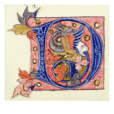 Historiated Initial 'D' Depicting a Fish with a Human Head (Vellum) Giclee Print by  French