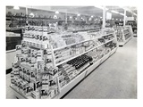 Soap Powder Aisle, Woolworths Store, 1956 (B/W Photo) Giclee Print by  English Photographer
