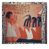 Tomb Painting Depicting the Departed before Osiris, Isis, and Thoth (Fresco) Giclee Print by  Egyptian 2nd Dynasty