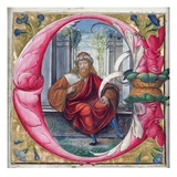 Historiated Initial 'C' or 'O' Depicting King David (Vellum) Giclee Print by  Master of the Monogram B.F