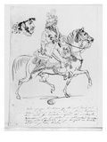 Equestrian Portrait of Prince Joachim Murat (Pen and Brown Ink and Graphite on Paper) Giclee Print by Baron Antoine Jean Gros