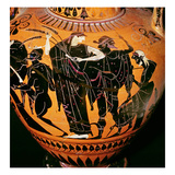Attic Black-Figure Vase Depicting Synthos, Demeter, Hermes and the Boatman, C.535-540 BC Lámina giclée por Greek,