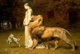 Una and the Lion, from Spenser's Faerie Queene, 1880 Giclée-tryk af Briton Rivière