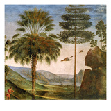 Man Leaning on a Staff, Birds Flying, Trees, Rocks, a Lake and a Distant City with Spires Giclee Print by Pietro Perugino