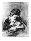 Mother and Child, C.1655 (Pen, Ink and Wash on Paper) Giclee Print by Nicholaes Maes