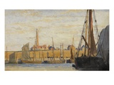 A Continental Harbour, 1890 (Oil on Board) Giclee Print by William Lionel Wyllie