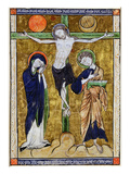 The Crucifixion, from a Psalter, C.1215 (Vellum) Premium Giclee Print by  French