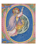Historiated Initial 'O' Depicting God Creating the Stars (Vellum) Giclee Print by Sano Di, Also Ansano Di Pietro Di Mencio Pietro