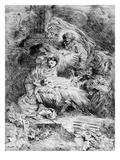 The Nativity, C.1645 (Etching) Giclee Print by Giovanni Benedetto Castiglione