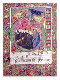 Historiated Initial 'Q', Depicting Christ Holding the Cross of St. Benedict and Benedictine Monks Premium Giclee Print by  Italian