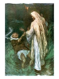 Christ Walking on the Sea Giclee Print by William Hatherell