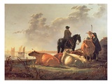 Peasants and Cattle by the River Merwede, C.1655-60 (Oil on Panel) Giclee Print by Aelbert Cuyp