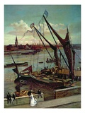 Unloading the Barge, Lindsay Jetty and Battersea Church, C.1860 Giclee Print by Walter Greaves