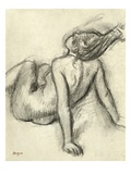 Woman Having Her Hair Styled (Charcoal on Paper) Giclee Print by Edgar Degas