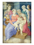 The Holy Family with St. Elizabeth, St. John the Baptist and Three Noblewomen, C.1557 (Vellum) Giclee Print by Giorgio Giulio Clovio