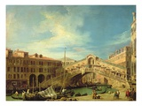 Grand Canal: the Rialto Bridge from the South: (Oil on Copper) Giclee Print by  Canaletto
