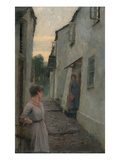 Street Scene with Figure, Cornwall (Oil on Boad) Giclee Print by Frederick Cayley Robinson