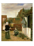 A Woman and a Maid in a Courtyard, c.1660-61 Giclee Print by Pieter de Hooch