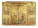 Altarpiece with the Crucifixion in the Centre Panel and Scenes from the Life of Christ Giclee Print by  Master of Cologne