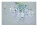 Swans, 1885 (Pastel on Paper) Giclee Print by Berthe Morisot