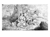 The Rest on the Flight into Egypt, Etched by Antonio Travi (Etching) Giclee Print by Giovanni Benedetto Castiglione