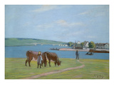 Cows on the Banks of the Seine at Saint-Mammes (Pastel) Giclee Print by Alfred Sisley
