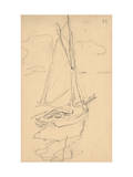 Small Yacht on the Norman Coast (Pencil on Paper) Premium Giclee Print by Claude Monet