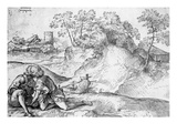 Youths in a Landscape (Pen and Ink on Paper) Giclee Print by Domenico Campagnola