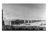 Saint Isaac's Pontoon Bridge across the River Neva (Engraving) Giclee Print by  Russian
