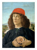 Portrait of a Young Man Holding a Medallion of Cosimo I De' Medici ('The Elder') (1389-1463) Giclee Print by Sandro Botticelli