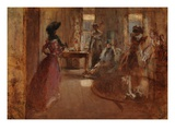 Family Party, C.1892 (Oil on Panel) Giclee Print by Henry Tonks
