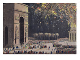 View of the Arc De Triomphe with Fireworks, 1810 (Coloured Aquatint) Giclee Print by Philibert Louis Debucourt