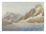 The Mer De Glace, Chamonix, 1881 (Pencil and W/C Heightened with White) Giclee Print by Sarah Inger Louise Severn