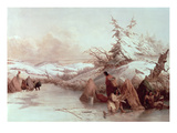 Spearing Fish in Winter (Oil on Canvas) Giclee Print by Captain Seth Eastman