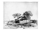 Cottage with a White Paling, 1648 (Etching) Giclee Print by  Rembrandt van Rijn