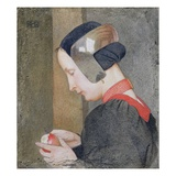 Portrait of a Lady Peeling an Apple (Tempera on Gessoed Panel) Giclee Print by Marianne Stokes