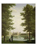 Napoleon I (1769-1821) and Marie-Louise (1791-1847) on the Carp Pond at Fontainebleau, 1810 Giclee Print by Jean Joseph Bidauld