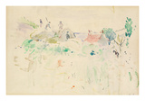 The Haystacks in Jersey, 1886 (W/C on Paper) Giclee Print by Berthe Morisot