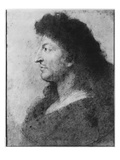 Portrait of Louis Xiv in Profile, with Bare Neck and Long Hair, C.1678 Giclee Print by Charles Le Brun