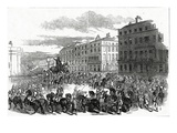 The Grand Procession of the Wellington Statue Turning Down Park Lane Giclee Print by Ebenezer Landells