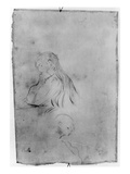 Young Girl Writing, 1891 (Charcoal on Paper) Giclée-tryk af Berthe Morisot