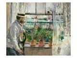 Berthe Morisot - Eugene Manet (1834-92) on the Isle of Wight - Giclee Baskı
