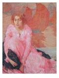 Dame En Rose Giclee Print by Edmond-francois Aman-jean